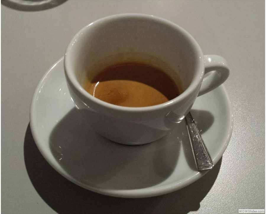 The espresso comes in (compartively) big cups.