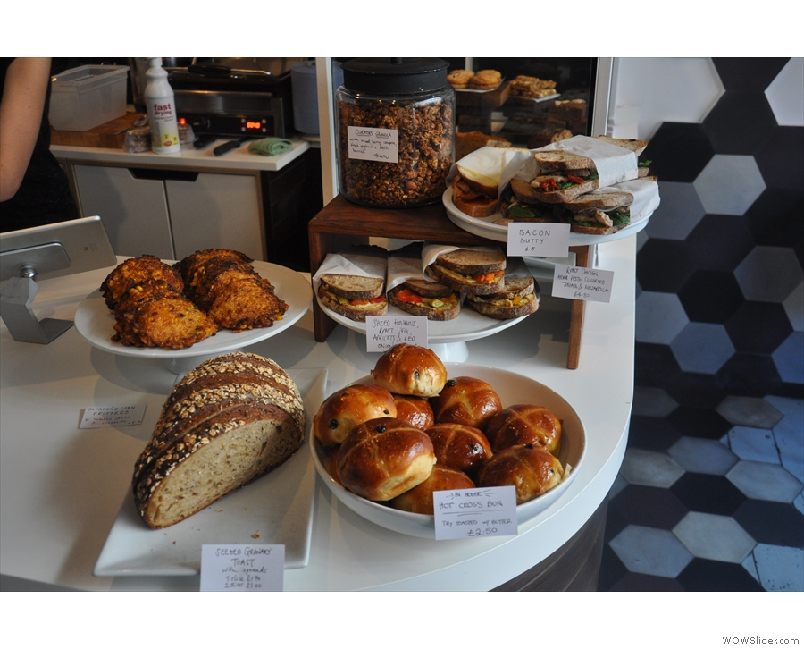 If you're hungry, the cakes and sandwiches are right at the front of the counter.