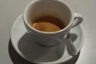 The espresso comes in (compartively) big cups.