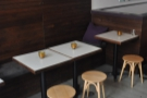 Alternatively, there are these small, square tables to the left as you come in.