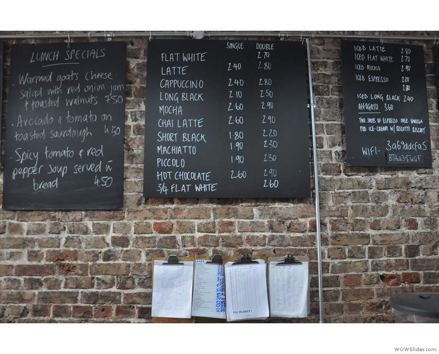 The menus are chalked up on boards behind the counter (food menus are on the clipboards).