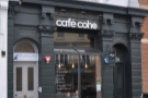 The narrow store front of Cafe Coho on Brighton's Queens Road.