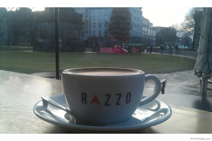 After that it was up to St Andrew Square and the unexpectedly wonderful Razzo Coffee with views of the Christmas Tree