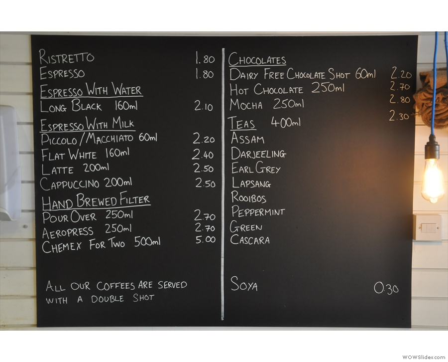 The coffee and hot-drinks menu is stright-forward...