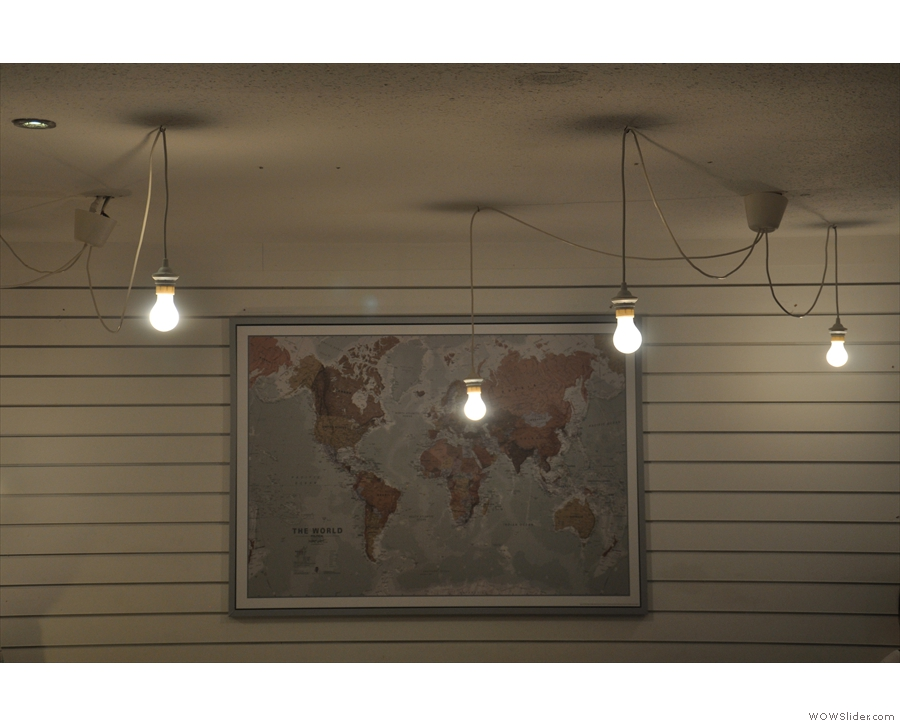 ... such as these hanging by the map of the world at the back.