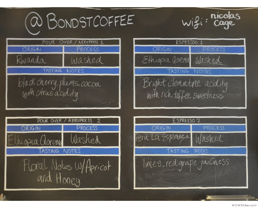 ... while the chalk-board with the choice of coffee is reminiscent of Colonna & Small's.