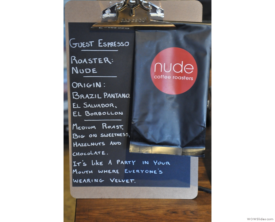 ... while the guest is all the way from Nude Espresso in London.