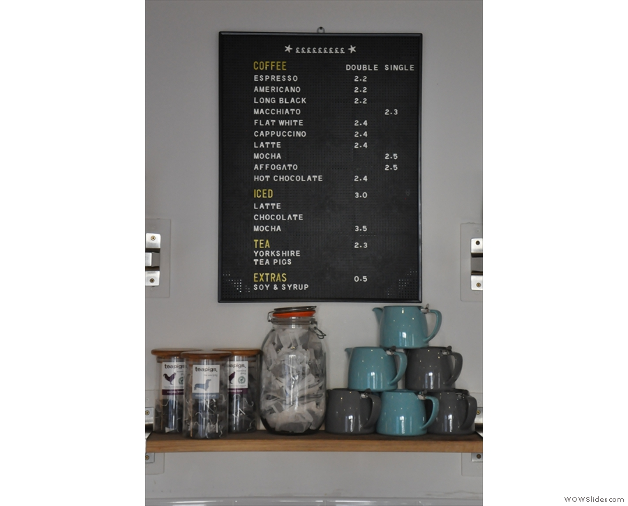 Talking of tea and coffee, here's the menu.