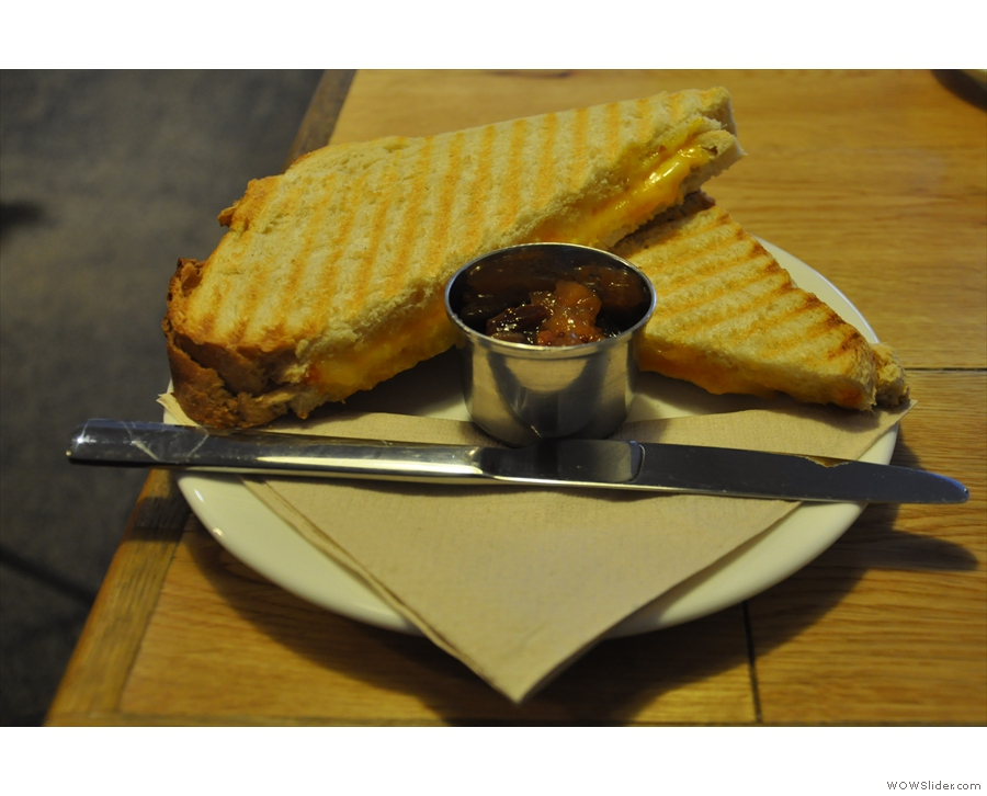 Finally, to soak up all that caffeine, an excellent three-cheese toastie, plus chutney.