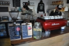 Right, down to business: the two grinders and espresso machine, water-station in between.