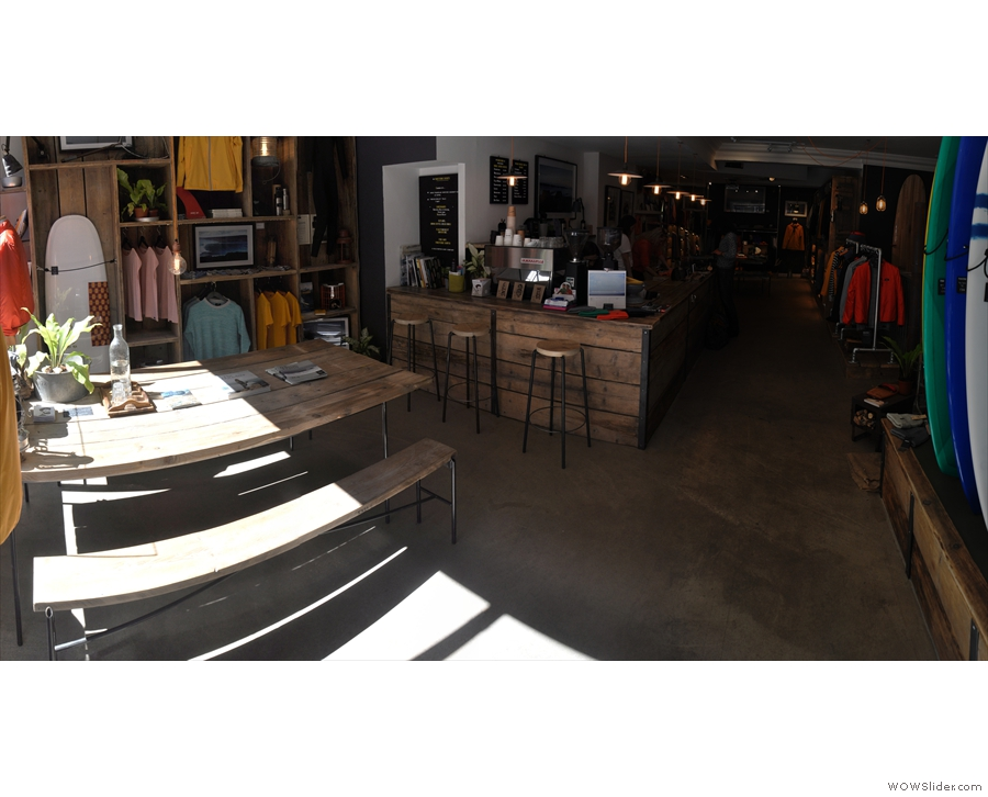 Stepping inside, Finisterre still looks like a coffee shop...