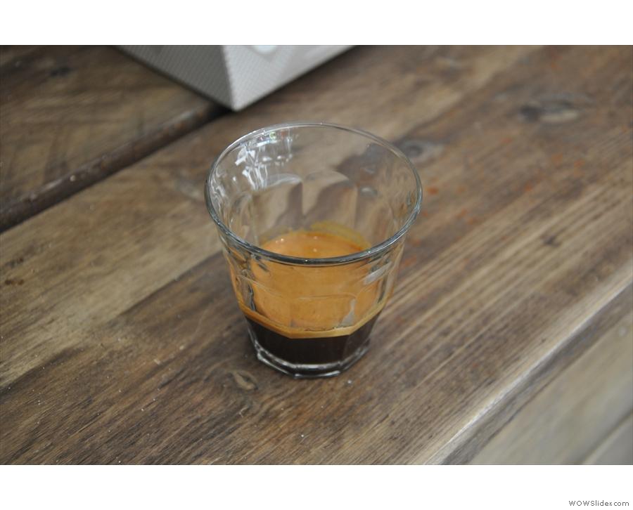 The first of my three espressos.