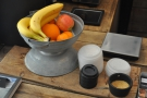 No cake, but there is fruit for the health-conscious. And scales. They weigh all the shots.