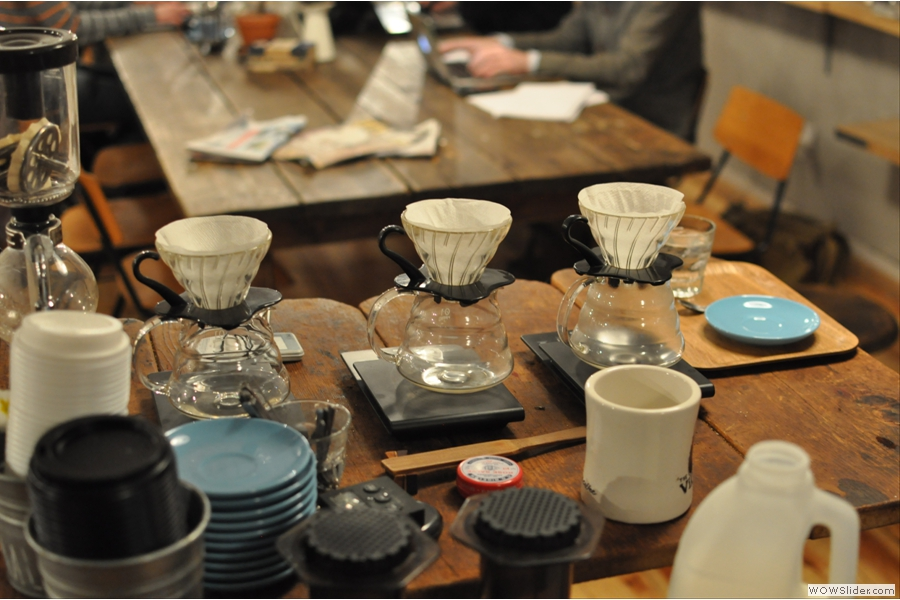 And here's the brew bar itself, aeropress in the foreground, V60 filters behind.