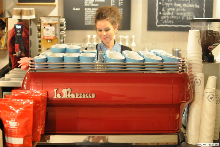 Waiting anxiously for my order behind the espresso machine is co-owner Jane. Look at those lovely blue cups!