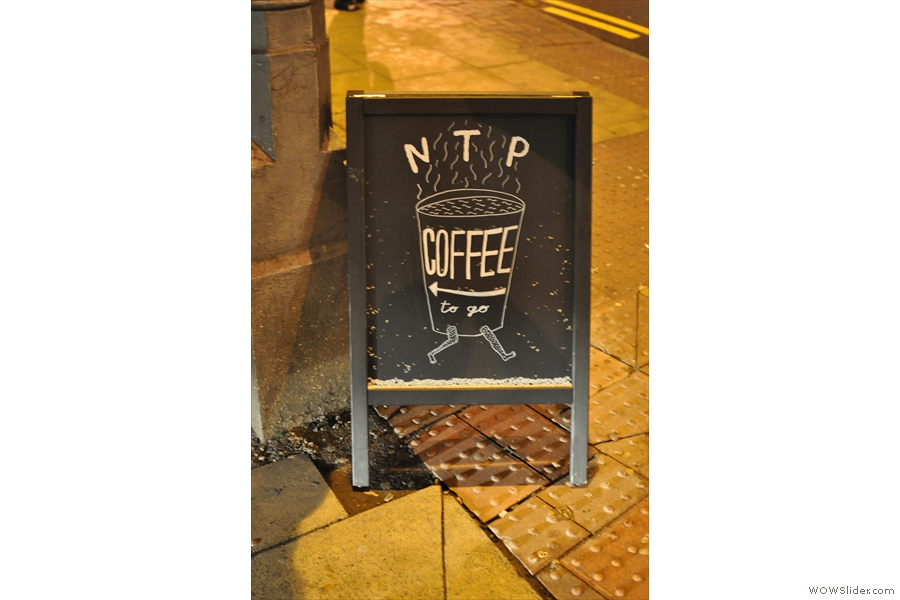 On other side of the street, coffee takes centre stage, either to go...