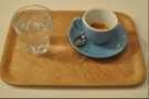So, I went for an espresso. No surprise there then. It came in one of the lovely blue cups, on its own little tray with a glass of tap water too!