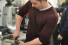 Having been taught the fundamentals of tamping, Dan shows us how it's done.