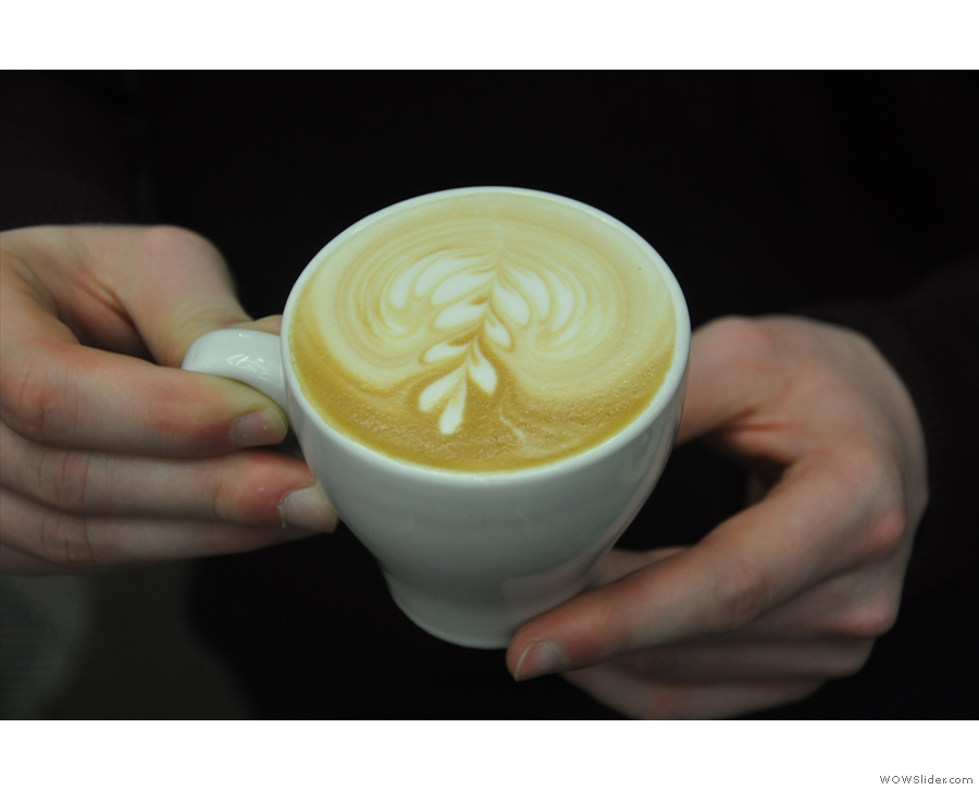 First of all, John made us a flat white to show us how it was done.