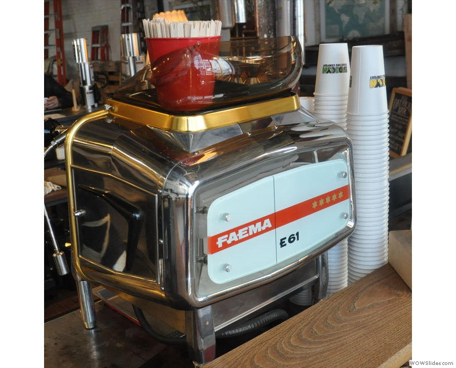 I was drawn to the refurbished 1969 single-group Faema E61 on the counter.