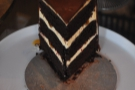 The chocolate layer cake with salt caramel and vanilla buttercream.