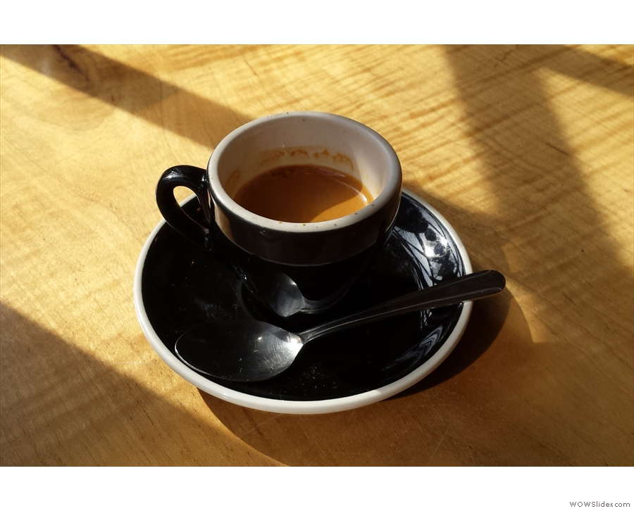 My espresso, bathed in early spring sunshine...