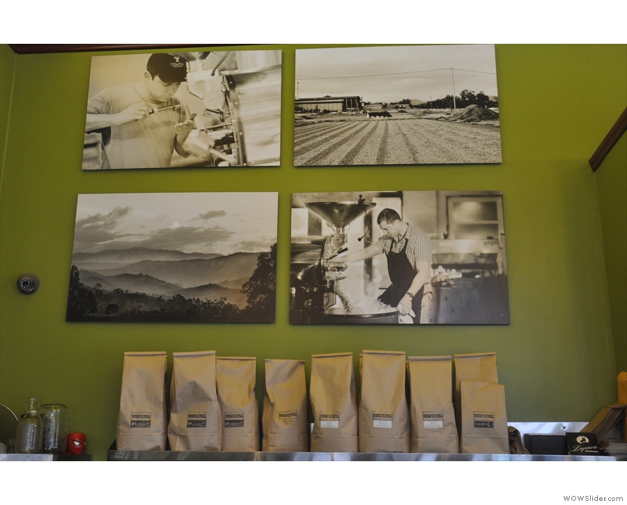 The walls, meanwhile, are hung with pictures, some of the roastery...