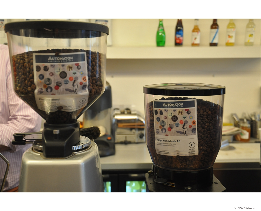 The coffee (house-blend, Electric on the left, the single-origin on the right).