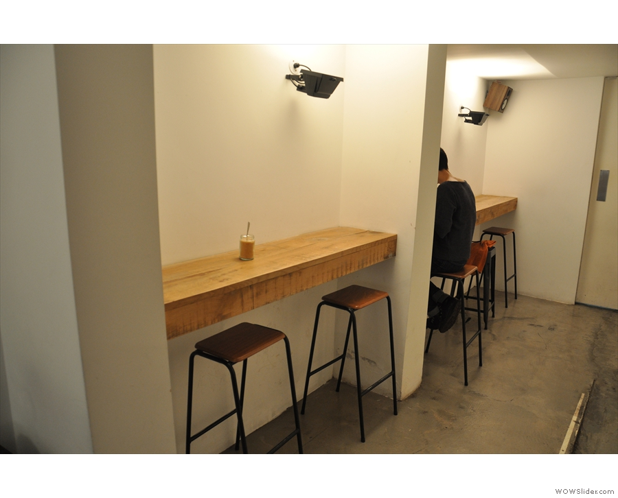 The final seating is in the form of a pair of small bars right at the back on the left.