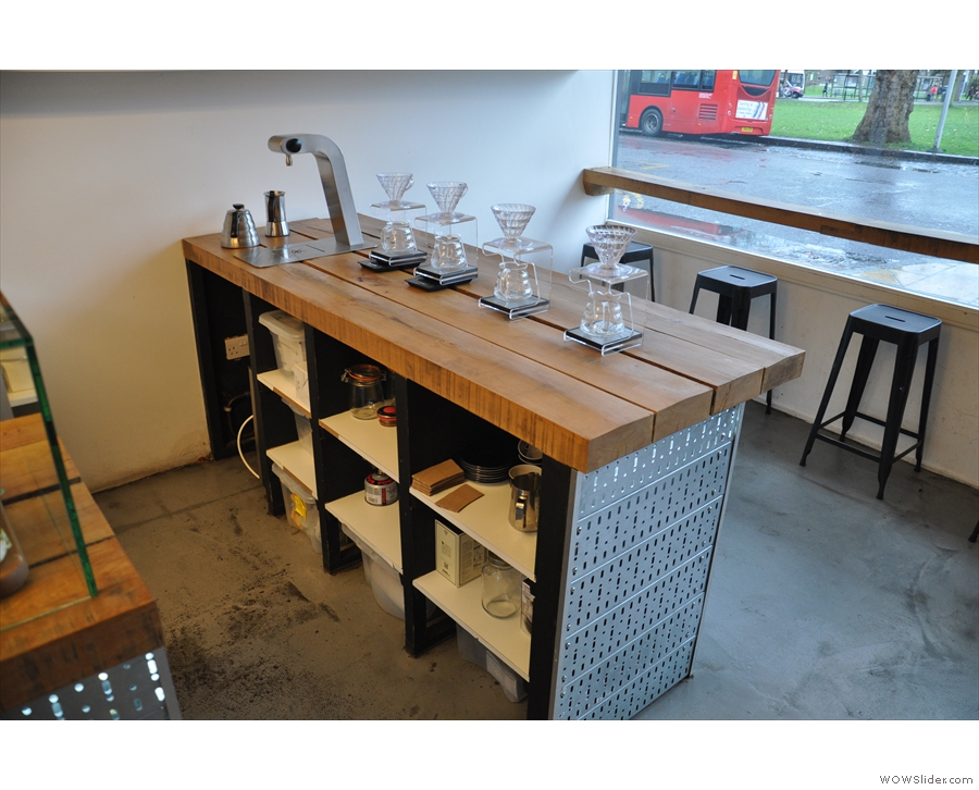 You can sit at the brew bar if you like, or at the window-bar if you want to watch the buses.