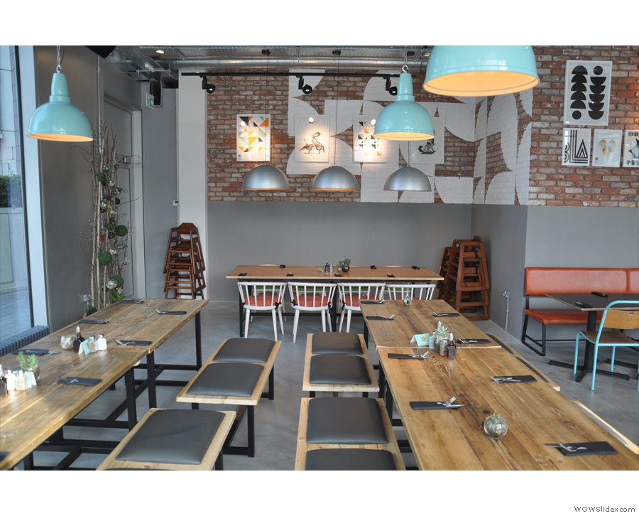 The seating at the far end of KuPP, with more communal tables.