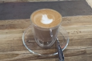An accompanying flat white: I really like the glass cups.