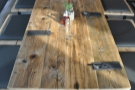 One of the communal tables in more detail.