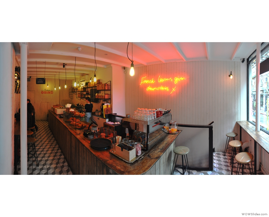 Stepping inside, it is indeed an espresso bar; a long, thin one.
