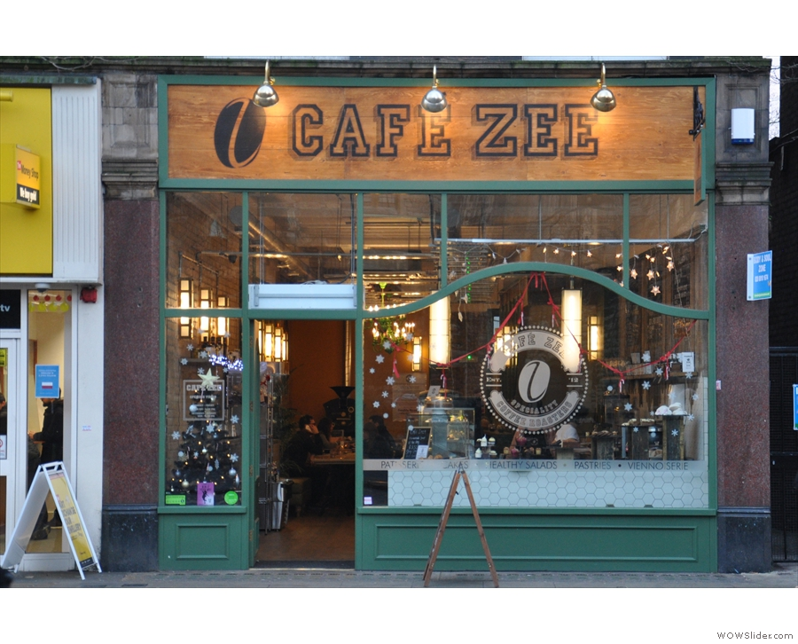 Café Zee on Ealing's New Broadway has an elegant facade...
