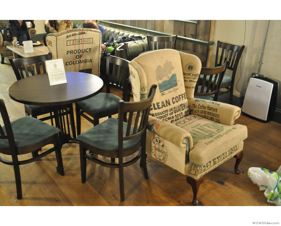 I was particularly taken with the armchairs, upholstered in coffee sacks!