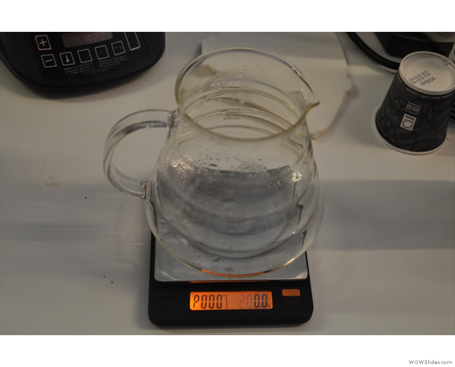 And the carafe on the scale. You'll have to take my word for it that I didn't hit the zero button!