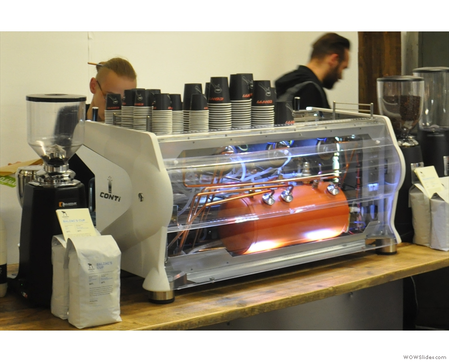 A naked Conti espresso machine.