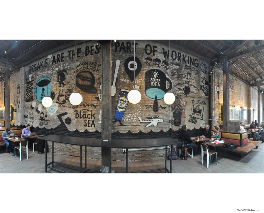 The various branches of La Colombe are renown for their murals & this one is no exception.