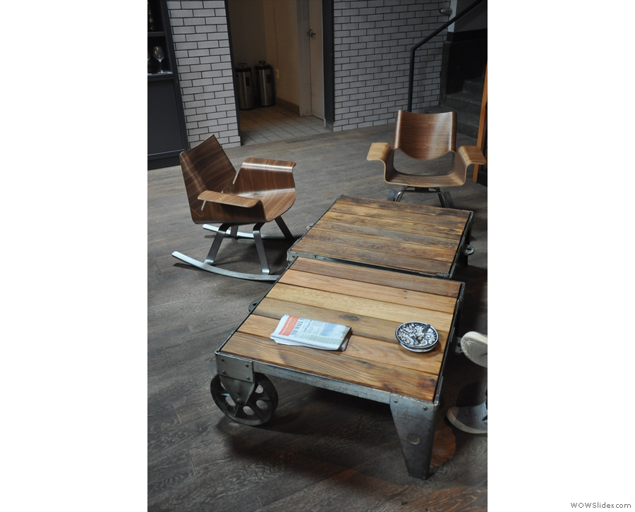Things have widened out here, leaving space for neat chairs & coffee tables such as these.