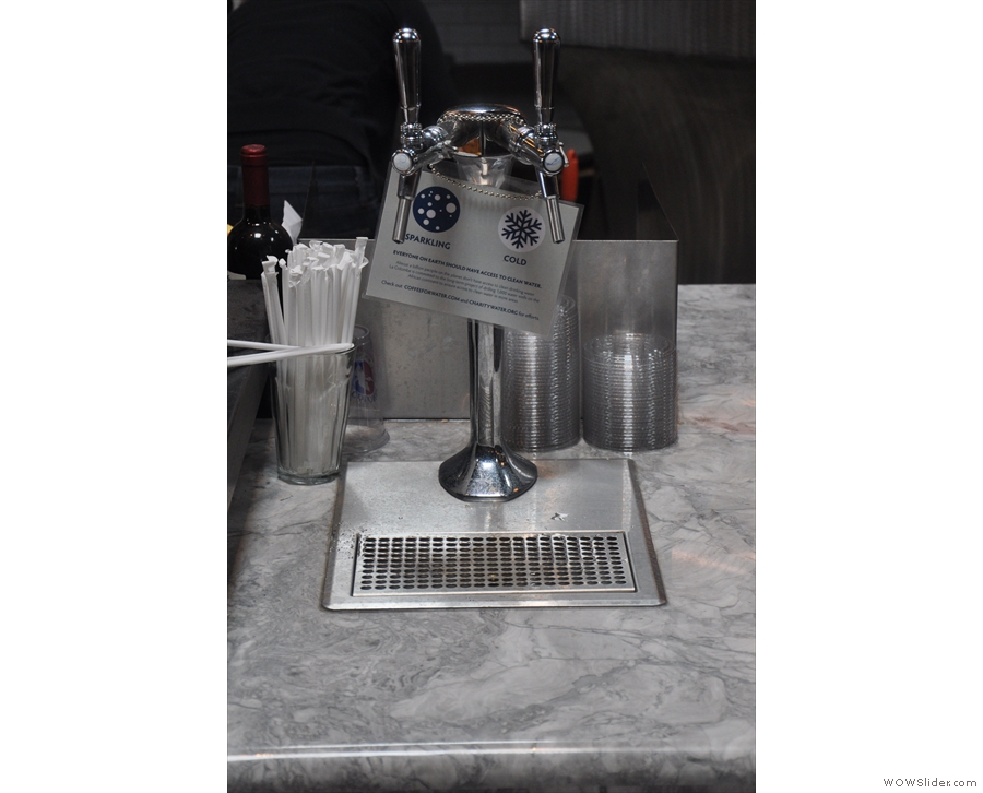 Not to be left out, La Colombe offers sparkling and still water on tap.