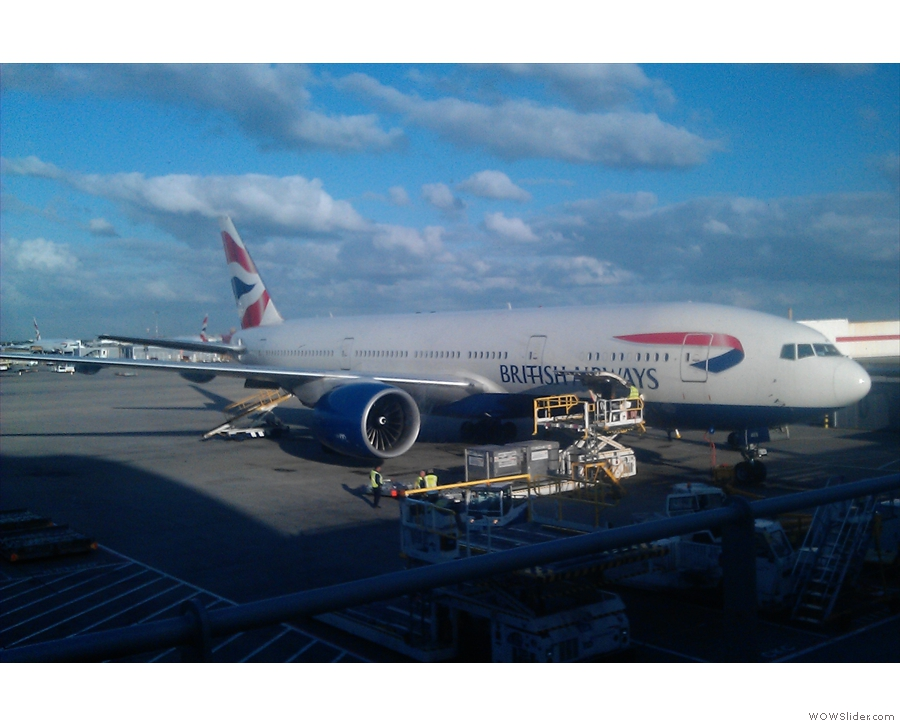 My plane for the flight over, a British Airways 777, workhorse of the North Atlantic routes.