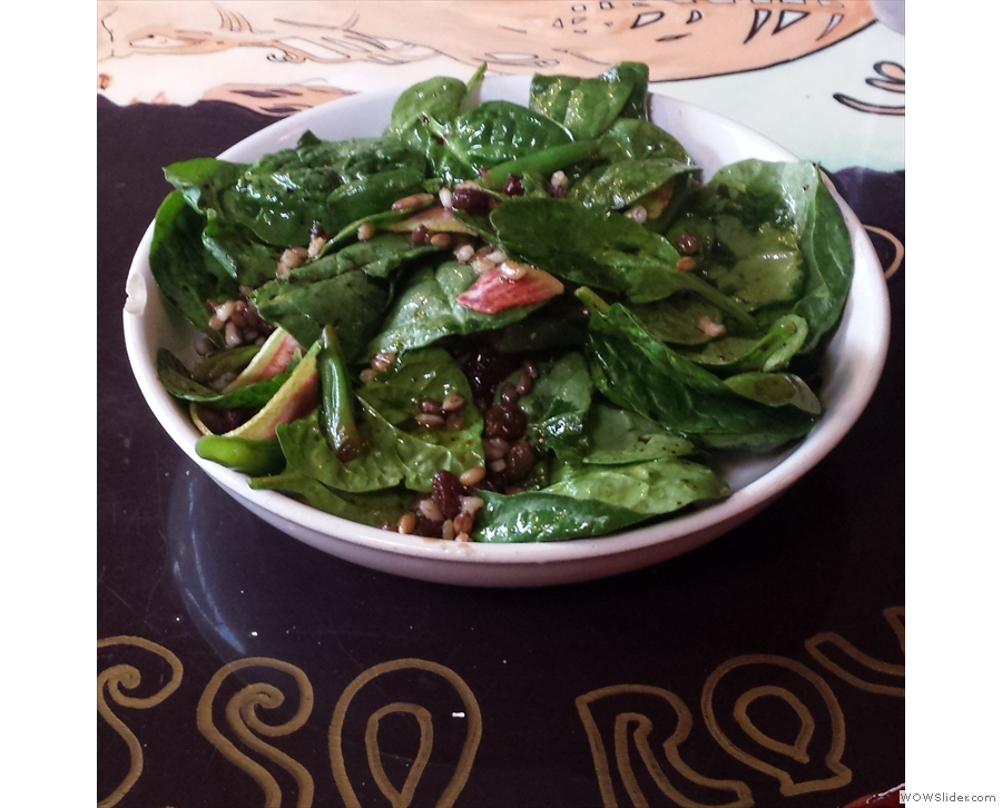 I stayed on for lunch: a baby spinach salad...