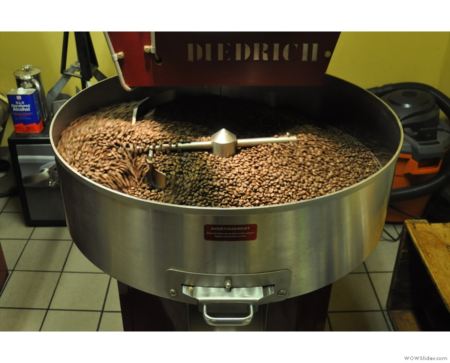 Another sight I never tire of: freshly-roasted coffee beans cooling in the pan.