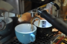 Since I was there to learn latte art, Dhan did the espresso. Probably just as well!