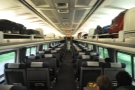 The spacious interior of coach class on Amtrak.