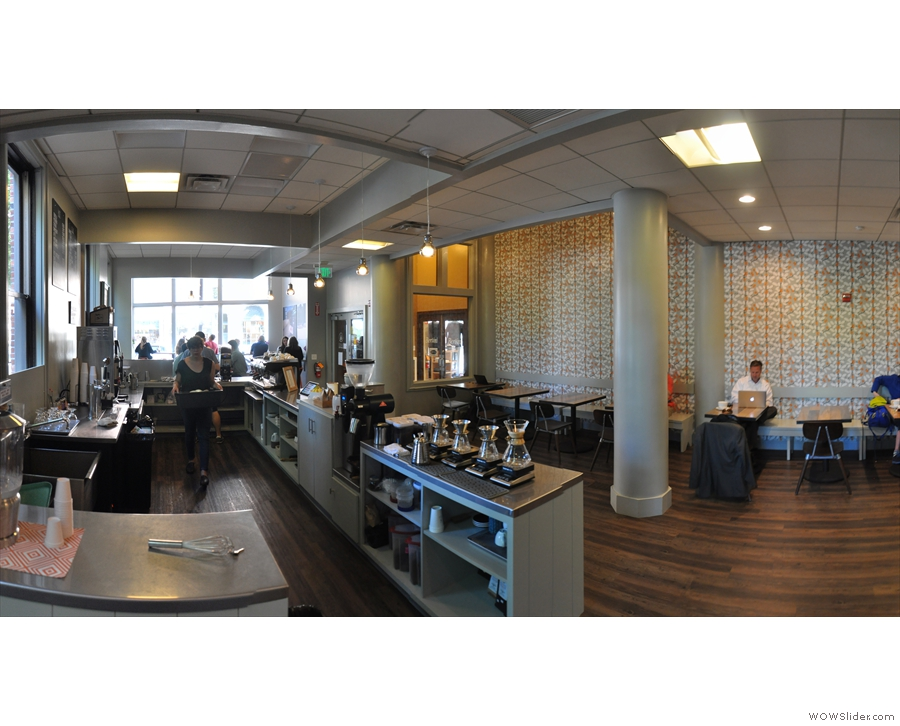 An alternative view of the tables, as seen from the far end of the counter.