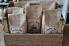 Some of the coffee bagged up and ready to go.
