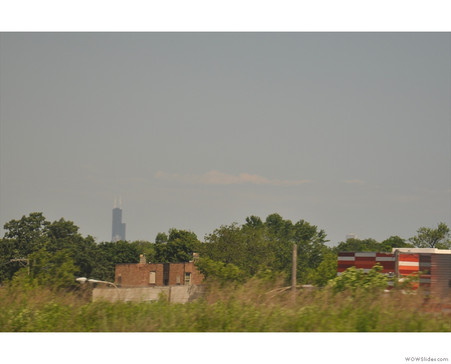 My first sight of Chicago: the Sears (now Willis) Tower in the far distance.