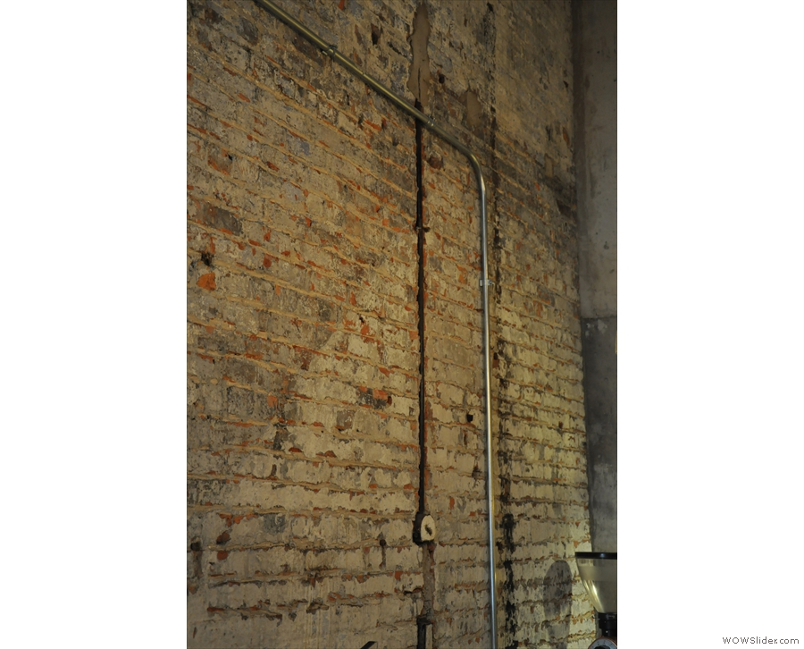 ... while here is an old electricity conduit in the wall, plus its modern counterpart.